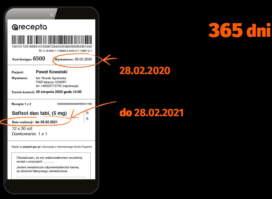 E-recepta ważna przez 365 dni: Pamiętaj, by wykupić  przynajmniej 1 opakowanie  leku z tej e-recepty przed upływem 30 dni,żeby nie utracić części leków